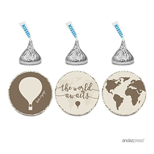 Andaz Press Birthday Chocolate Drop Labels Trio, Fits Hershey's Kisses Party Favors, Hot Air Balloon, World Map, 216-Pack, The World Awaits, Vintage Map Look