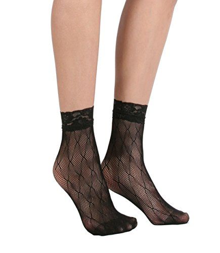 Women's Lace Ankle Socks (One Size : Regular, X Mesh - Black 3pair)