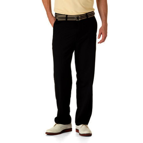 Haggar Men's Big-Tall Cool 18 Gabardine Hidden Expandable Waist Plain Front Pant, Black, (Big Tall Mens Pants)