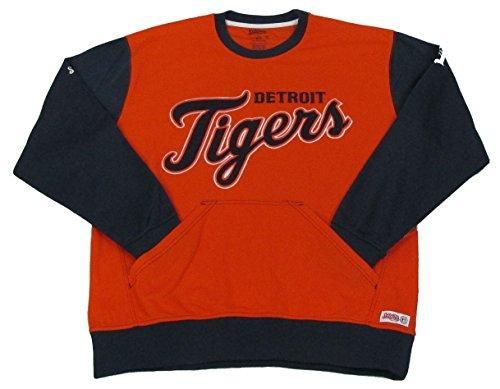 MLB Detroit Tigers Diamond Fleece Crew Sweatshirt, Orange, Large