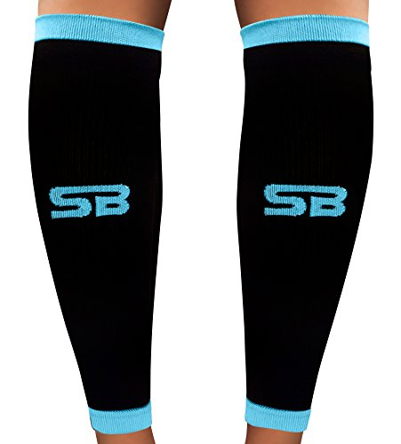 SB SOX Compression Calf Sleeves (20-30mmHg) for Men & Women - Perfect Option to Our Compression Socks - For Running, Shin Splint, Medical, Travel, Nursing, Cycling, and Leg Pain (Black/Blue, X-Large)