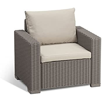 Keter California All Weather Outdoor Patio Armchair With Cushions In A  Resin Plastic Wicker Pattern,