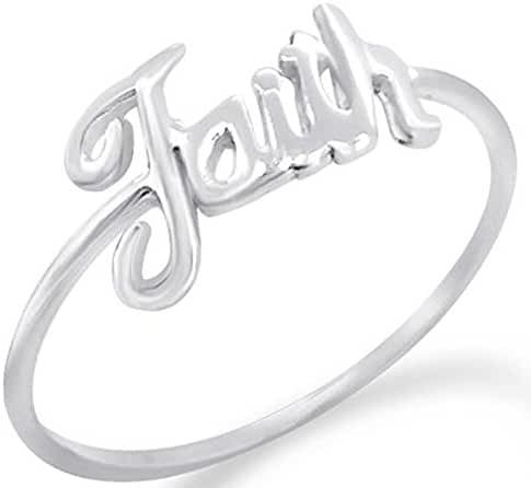 Fantom 925 Sterling Silver Elegant Faith Word Design Ring With Matte Finish - Light Weight