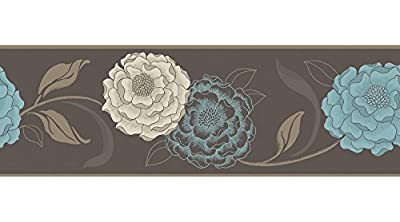 Fine Decor BO05587 Esme Wallcoverings with Chocolate, Cream and Teal Peel and Stick Border