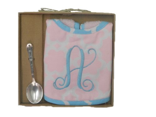 Mud Pie Baby Girl's Initial Bib & Spoon Set (J) (Baby Initial Bib)