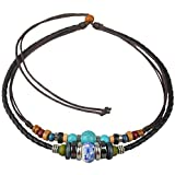 Ancient Tribe Adjustable Hemp Leather Cords Choker Necklace Turquoise Beads