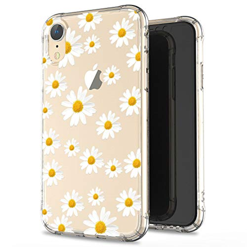 JIAXIUFEN Clear Case Cute Daisies Slim Shockproof Flower Floral Desgin Soft Flexible TPU Silicone Back Cover Phone Case for iPhone XR 2018 6.1 inch
