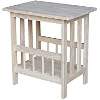 International Concepts 9836 Mission Magazine End Table, Unfinished