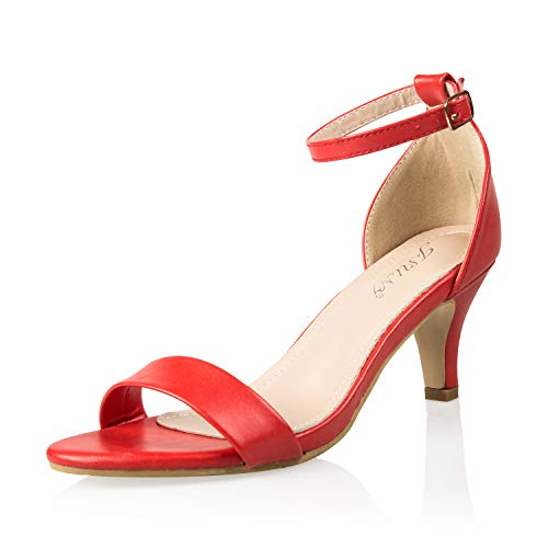 JSUN7 Women's Fashion Stiletto Low Heel Sandal Pump Shoe Red