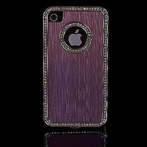 ZLXUSA (TM) Luxury Brushed Aluminum Bling Crystal Diamond Metal Hard Case for iPhone 4/4S Pink