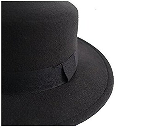 6dfb73b830d ASTRQLE Fashion Black Wool Blend Flat Brim Elegant Fedora Hat Panama Style  Bowler Cap Jazz Hat with Belt for Winer Autumn at Amazon Women s Clothing  store