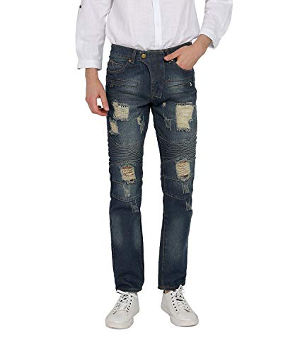 WEEN CHARM Mens Denim Distressed Slim Fit Ripped Straight Moto Biker Jeans