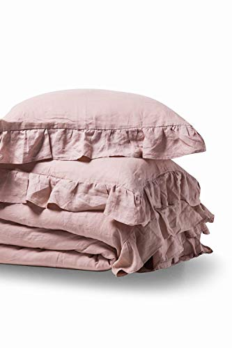 meadow park Linen Cotton Duvet Cover Set 3 Pieces, Vintage Garment Washed, Super Soft, Ruffled Style, King Size, Blush Color