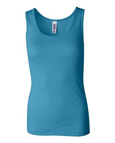 Bella Ladies 2x1 Rib Boybeater Tank Top. 4000 - Medium - Turquoise