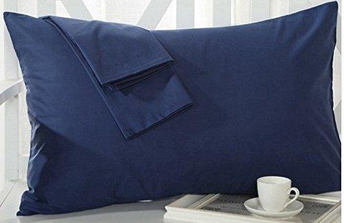 Travel Pillowcase 12X16 500 Thread Count Egyptian Cotton Set of 2 Toddler Pillowcase with Zipper Closer Navy Blue Solid with 100% Egyptian Cotton (Toddler Travel 12X16 Navy Blue)