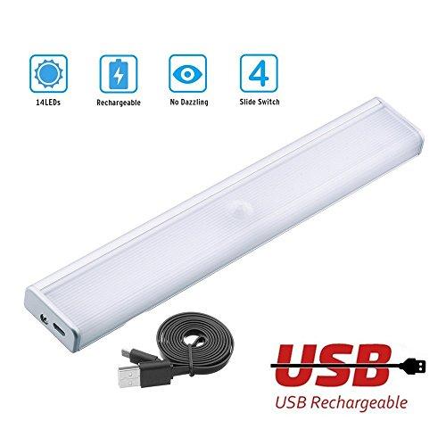 Motion Sensing Light, Cordless Battery-Powered LED Night Light, New 4-Mode On/Off Push Switch, Stick-anywhere Closet Lights Stair Lights for Hallway, Bathroom, Kitchen(Warm White 3000K)