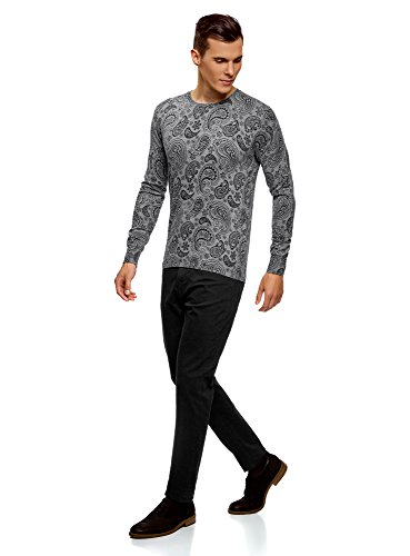 2329e Homme Pull Cachemire Oodji Gris Avec Ultra Motif pqw508P