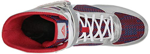 Reebok Men's Boot Boxing Shoe, Silver/Primal red/Crushed Cobalt/White, 13 M US