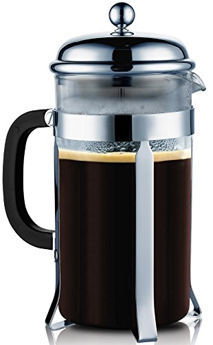 SterlingPro French Press  8 Cup (1 liter, 34 oz)--with 304 Make it Stainless Steel & Heat-Resistant Borosilicate Glass--2 Free Bonus Stainless Steel Screen in Case
