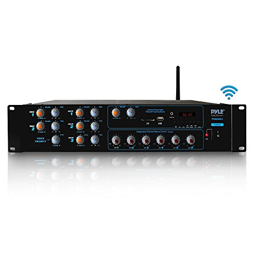 Wireless Bluetooth Power Amplifier System – 4200W 6CH Powered Rack Mount Portable Surround Sound Multi Zone Audio Home Stereo Receiver Box w/RCA, USB, AUX – for Speaker, PA, Theater – Pyle PT6000CH
