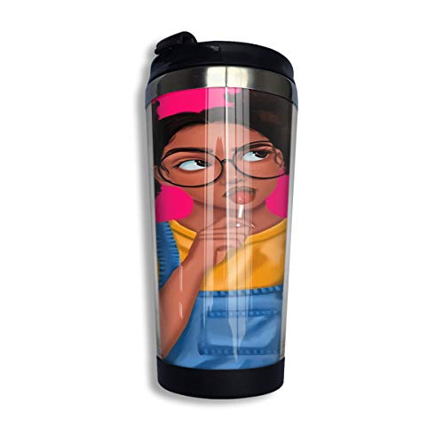 KiiKiss Hug Thinking Lollipop Afro Black Girl Flip Top Lid Leak Proof Sports Water Bottle Coffee Cup Stainless Steel Cups Vacuum Mugs Vacuum Sealed Tumbler Fit Drink Bottle 400ML ()