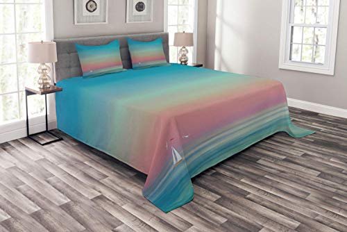- BABE MAPS 3 Piece Set Duvet Cover Twin Size Ombre Sky and Reflections on Sea Tides Nautical Nature Landscape Serenity Solitude Bedding Set,1 Comforter Cover,and 2 Pillow Cases Wave