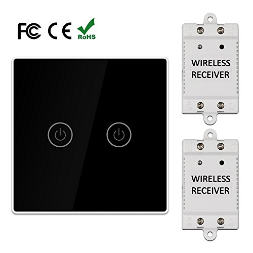LAGUTE 2-way Wireless Switch Kit,Remote Control,No Wiring,1 Switch & 2 Receivers,Quick Install & Relocate,For Bedroom/Living Room and so ()