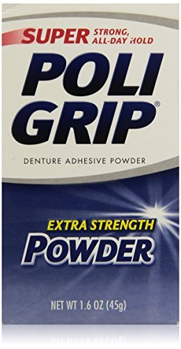 PoliGrip Super Denture Adhesive Powder, Extra Strength, 1.6 oz (45 g) One Bottle by Super Poli-Grip