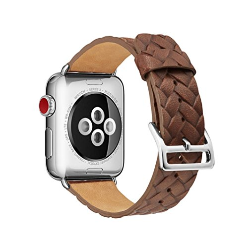 Fashion Women Leather Replacement Band for Apple Watch 1/2/3 42mm (Coffee)