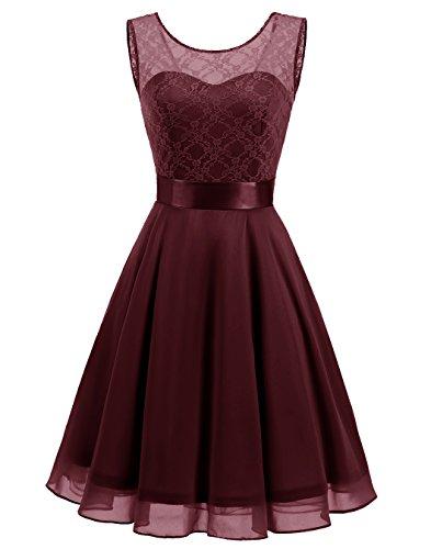 (BeryLove Women's Short Floral Lace Bridesmaid Dress A-line Swing Party Dress BLP7005BurgundyL)