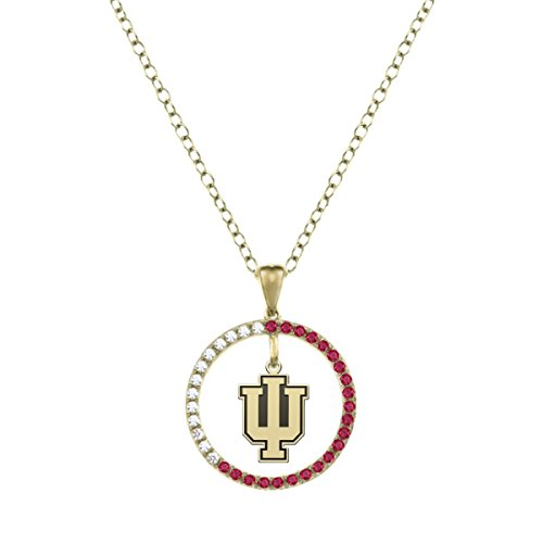Indiana University IU Ruby and Diamond Charm Necklace - 14KT Gold