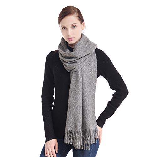 LERDU Women's Grey Cashmere Shawl Wraps Gift Box Wrapped Large Winter Pashmina Stole Scarf for Ladies