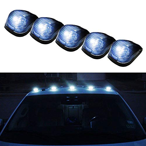 iJDMTOY Black Cab Smoked Lens White LED Rooftop Marker Lamps For Truck SUV 4x4, 5-Piece Roof Running Light Set Powered by (5) Xenon White 5050-SMD LED Lights