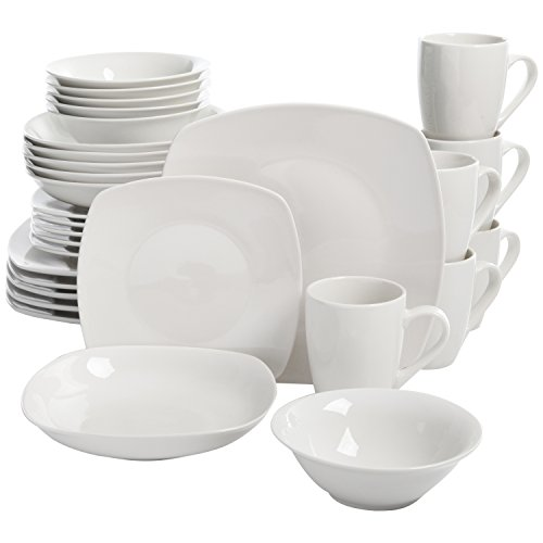 Square Dinnerware Set, 30 Piece Dish Set, White, Contemporary, Square Dishes for the Home, (30 Pieces Dinnerware Set)