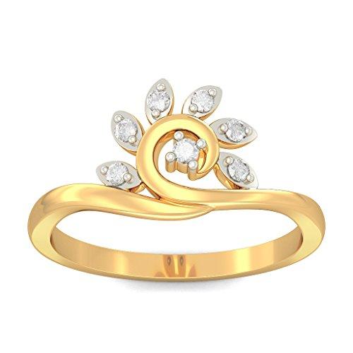 Or jaune 18K, 0.11carat Diamant Blanc (IJ | SI) en diamant