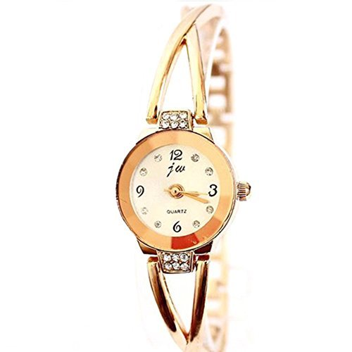 Women Rose Gold Plated Alloy Rhinestone Dial Bracelet Wrist Watch Gift Gold - 2