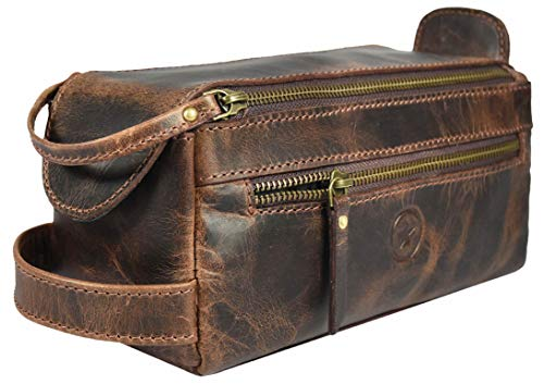 Leather Toiletry Bag for Men 9 Inch |