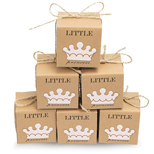 30pcs Little Princess Baby Shower Favor Boxes Rustic Baby Shower Party Supplies/Craft Paper Candy Box Gift Box with Twine for First Birthday Girl Decorations ()