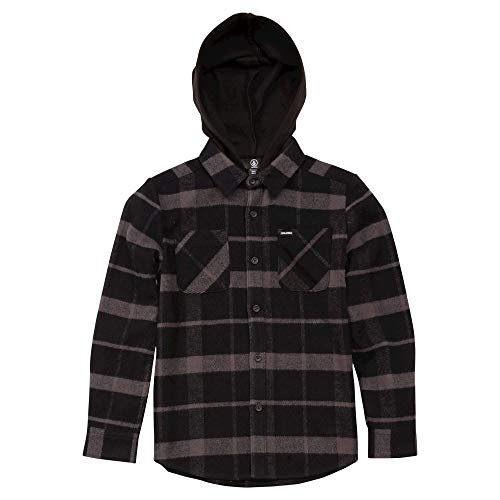Volcom Boys' Big Shader Hooded Long Sleeve Flannel Shirt, Black, Extra Large