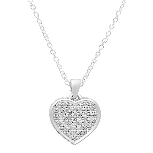 0.04 Carat (ctw) 14K White Gold Round White Diamond Ladies Heart Pendant(Silver Chain Included) Lady Heart Diamond