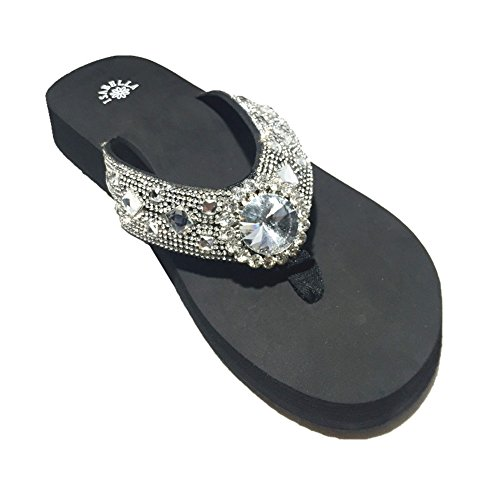 Premium Western Rhinestone Diamond Concho Blingbling Flip Flops in 4 Sizes S055 (Large) -