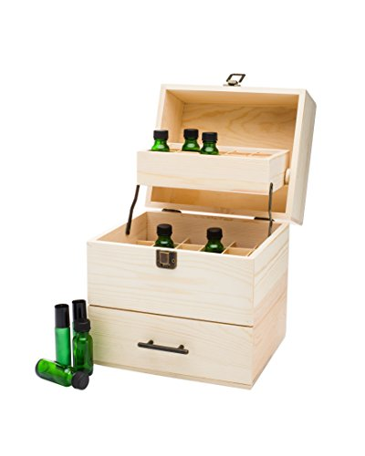 Wooden Multi-Tray Essential Oil Storage Box - Carrying Case Holds 59 Total Oils (45 bottles 5-15ml & 14 Roller Bottles 10ml)