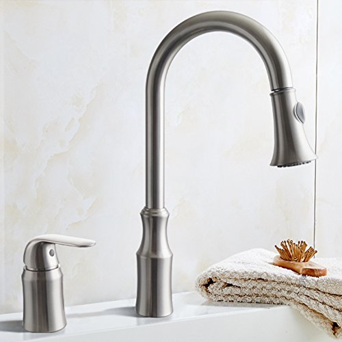 Kes Brass Pulldown Kitchen Faucet Brushed Nickel Single