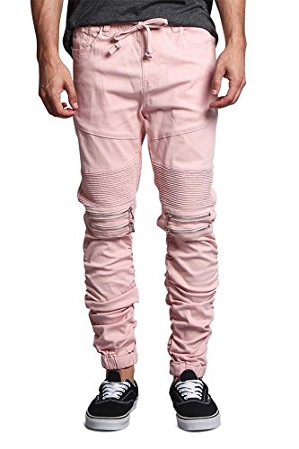 G-Style USA Scrunch Stacked Biker Twill Jogger Pants JG882 - Dirty Pink - 2X-Large - K1A - Dirty Wash Jeans