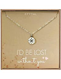 Necklace Gift for Girlfriend/Wife, Sterling Silver Cute I Love You Compass Heart Jewelry for Her, Valentines Day