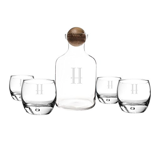 Cathy's Concepts Personalized Glass Liquor Decanter with Wood Stopper & Glasses Set, Scotch, Letter H ()