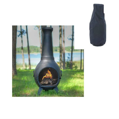 Blue Rooster Prairie Style Wood Burning Outdoor Metal Chiminea Fireplace Charcoal Color with Large Black Cover