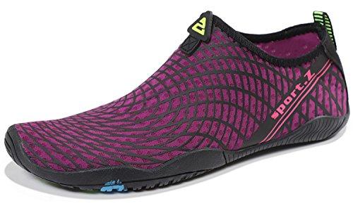 HEETA Water Sports Shoes for Women Men Quick Dry Aqua Socks Swim Barefoot Shoes for Beach Pool Surf Swim Yoga Rose Red_A 40# -