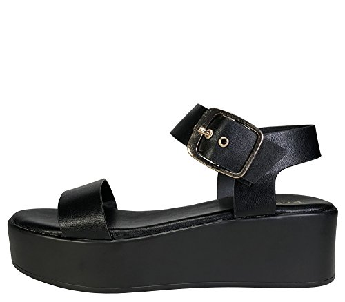 Image of BAMBOO Women's Single Band Platform Footbed Sandal with Quarter Strap