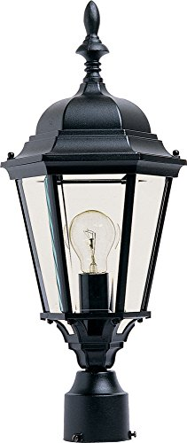 Black Post Lantern Cast - Maxim 1005BK, Westlake Cast Aluminum Post Lamp - 100W Black Outdoor Post Lighting, Incandescent Post Lantern. Lighting Fixtures